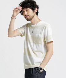 nano・universe/梨地ワイドボーダーTシャツ/501060095