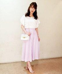 Eimy Peal by POWDER SUGAR/【セットアップ対応商品】綿ストライプ刺繍ミディスカート/501063507
