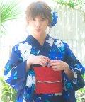 Dita/Dita【ディータ】1人で簡単に着られる作り帯の可愛い女性浴衣 4点フルセット(ゆかた・作り帯・下駄・着付けカタログ) 藍色地に桔梗と鉄線/501081361