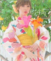 Dita/Dita【ディータ】1人で簡単に着られる作り帯の可愛い女性浴衣 4点フルセット(ゆかた・作り帯・下駄・着付けカタログ) 手毬菊/501081362
