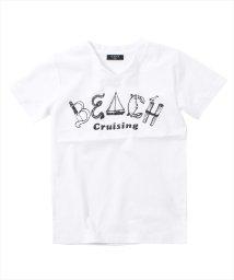 GLAZOS/接触冷感BEACHデザイン半袖Tシャツ/501083249