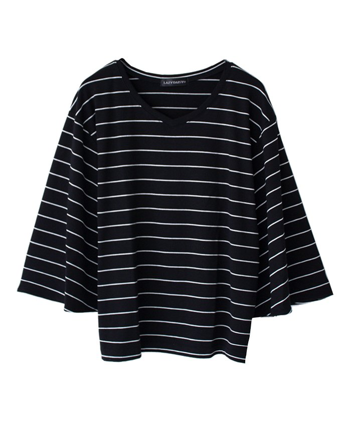 Vネックフレアー袖Tシャツ