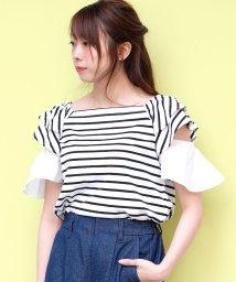 ANDJ/2WAYオフショルフリル袖Tシャツ/501086616