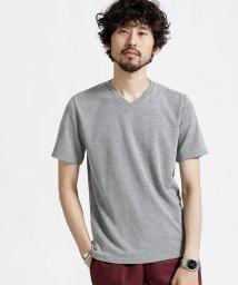 nano・universe/ジャガードリップルVネックTシャツ/501086950