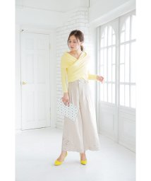 Sylph/リネン混裾刺繍ワイドパンツ/501066305