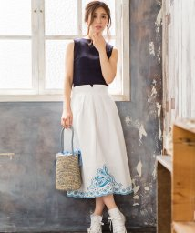 Sylph/リネン混裾刺繍スカート/501066317