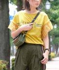 ANDJ/袖フリルチュール切り替えラインロゴTシャツ/501092505