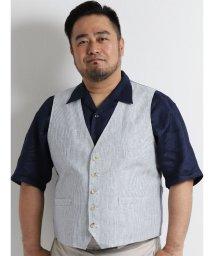 GRAND-BACK/【大きいサイズのメンズ服・グランバック】フレンチリネンストライプ柄ベスト/501095261