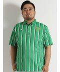 GRAND-BACK/【大きいサイズ】カッパゴルフ/Kappa Golf  ストライププリントボタンダウン半袖ポロシャツ/501095465