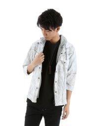 semanticdesign/7分袖フェイクフード付きタイダイ染めシャツアウター/501096558