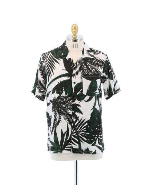 semanticdesign(セマンティックデザイン)/ヤシ柄プリントオープンカラー半袖シャツ/110131503800837