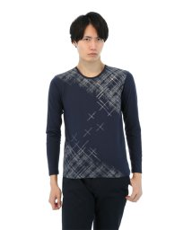 semanticdesign/グラフィックチェック柄クルーネック長袖Tシャツ/501096768