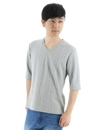 semanticdesign/ケーブルジャガードVネック5分袖Tシャツ/501096908