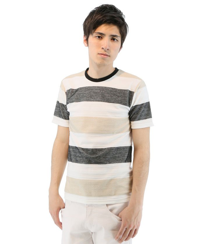 BIGヘリンボーンボーダー柄クルーネックTシャツ
