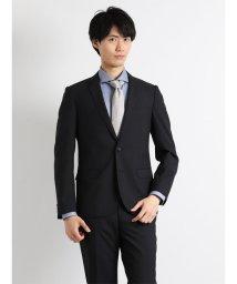 TAKA-Q/【春夏】ウォッシャブルシャドーストライプ黒2パンツスーツ A体 スリムフィット/501097291