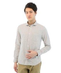 TAKA-Q/パナマメッシュストライプ柄ラウンドカラーシャツ/501097594