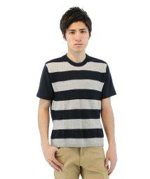 TAKA-Q/半袖前身ニットボーダークルーネックTシャツ/501097681