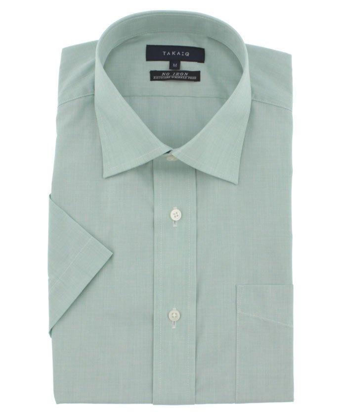 形態安定レギュラーフィットワイドカラー半袖ビジネスドレスシャツ