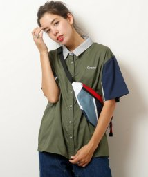 DOUBLE NAME/配色ロゴ刺繍半袖シャツ/501106939