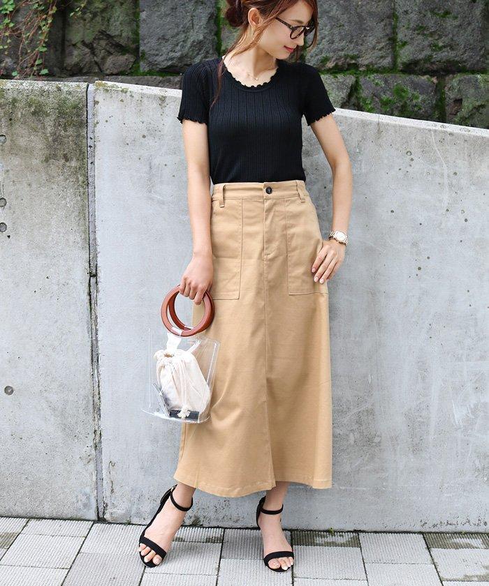 【H−10】チノツイル ベイカー フレアスカート ロングスカート