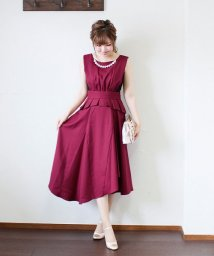 BLUEEAST/≪結婚式 二次会 パーティー≫リボンベルト付きサイドレースペプラムドレス/501116534