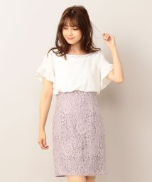MIIA/フレア袖レースドッキングワンピース/501110687