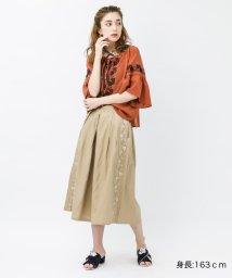 axes femme/サイドライン刺繍ワイドパンツ/501112607