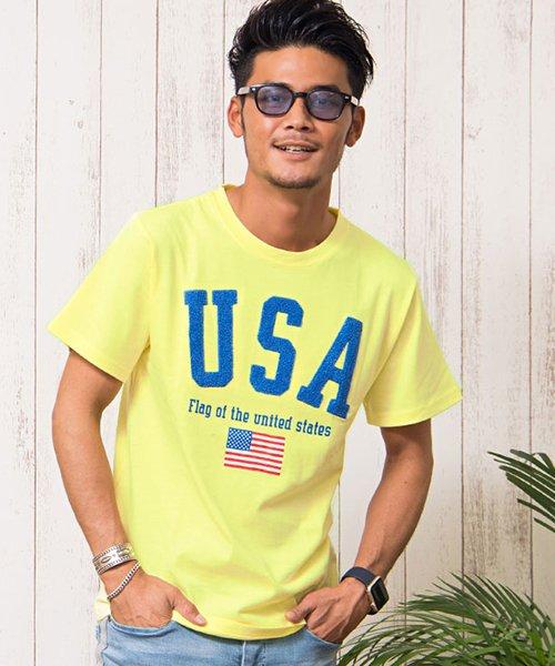 CavariA【キャバリア】サガラ刺繍デザインクルーネック半袖Tシャツ