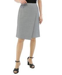 TAKA-Q/COOLMAX 鹿の子セットアップラップ風スカート グレー/501127420