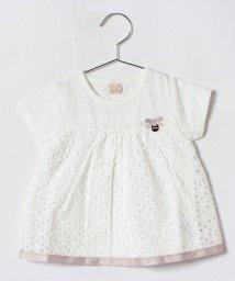 petit main/コットンレースドッキングTシャツ/501122070
