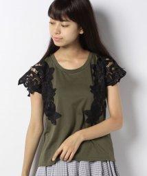 axes femme/肩フラワーレースTシャツ/501123808