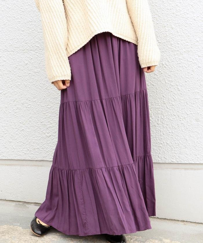 Khaju:リラックスティアードマキシスカート
