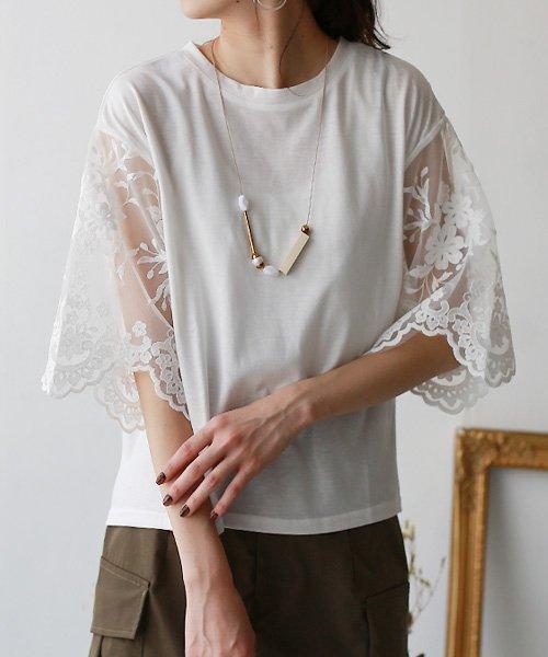 REAL CUBE(リアルキューブ)/&g'aime チュール刺繍レーススリーブカットソー/988-62139