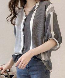 miniministore/ブラウス レディース マルチストライプ ブラウス 体型カバー シャツ 夏服/501139974