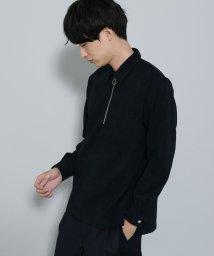 JUNRed/フェイクスエードリングハーフジップシャツ/501140487