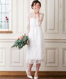 form forma/【WEB限定・結婚式・ウェディングドレス】kaene×formforma/フラワーチュールレース 袖付きロングウェディングドレス/501127403