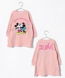 X-girl Stages/ミッキー&ミニー サガラワッペントレーナーワンピース/501136362