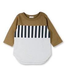 branshes/ストライプ切り替え7分袖Tシャツ/501151041