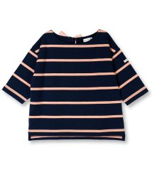 branshes/後ろリボンボーダー7分袖Tシャツ/501151059