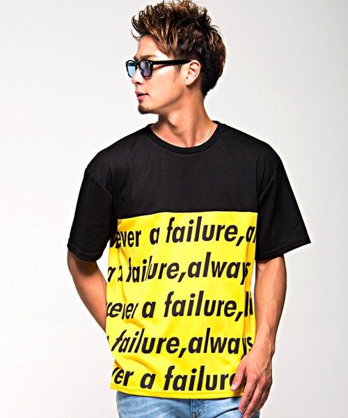 CavariA【キャバリア】ビッグシルエット英字柄プリント切替クルーネック半袖Tシャツ