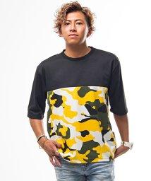 CavariA/CavariA【キャバリア】マルチカラー迷彩柄切替デザインクルーネック5分袖Tシャツ/501161274