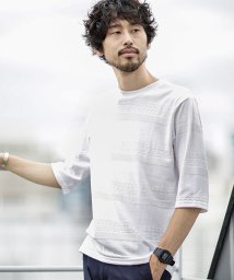 nano・universe/【WEB限定商品】∴coolMaxリンクスボーダー七分袖Tシャツ/501161545