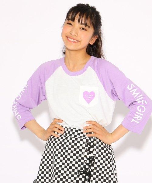 PINK-latte(ピンク ラテ)/ラグラン Tシャツ/99990931911006