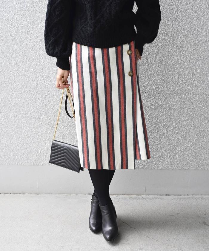 SHIPS ストライプラップタイトスカート