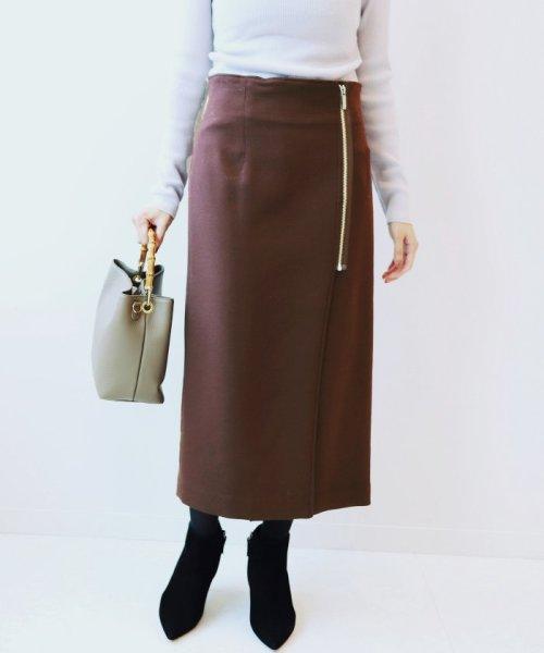 NOBLE(スピック&スパン ノーブル)/PE/RY/W ジップタイトスカート◆/18060240503030