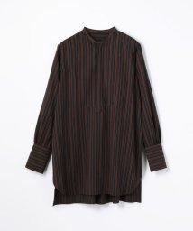 MACPHEE/レーヨンナイロンストライプ チュニックシャツ/501165395