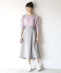 coen/【2WAY】チェックロングフレアスカート ( ジャンパースカート )/501167360