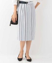 OFUON/【洗える】ランダムストライプタイトスカート/501051512