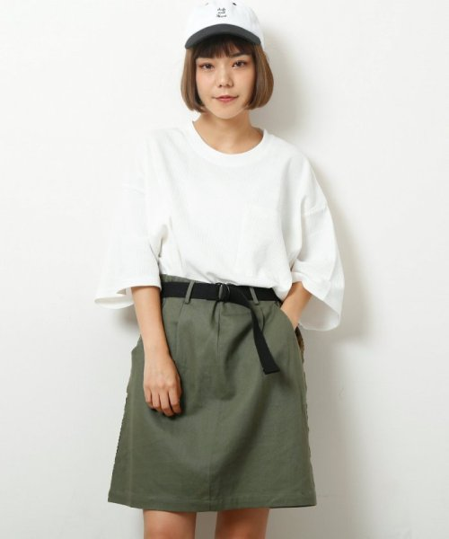 DOUBLE NAME(ダブルネーム)/ベルト付ライン台形スカート/286213390