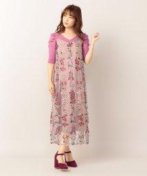 MIIA/フラワー刺繍Iラインキャミワンピース/501175291